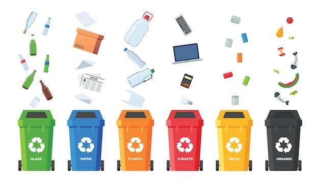 Viele mülleimer mit sortiertem müll. müll sortieren. ökologie- und recyclingkonzept. mülleimer isoliert auf weißem hintergrund. flache abbildungen.
