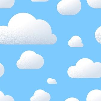 Viele niedliche wolken mit beschaffenheit im blauen himmel, nahtloses muster der karikatur