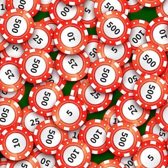 Viele roten kasinochips auf nahtlosem muster des grünen stoffes