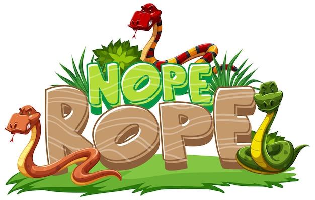 Viele schlangen-cartoon-figur mit nope rope-schriftart-banner isoliert