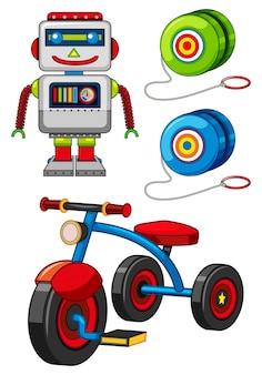 Viele spielzeug auf weißem hintergrund illustration