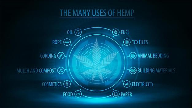 Viele verwendungen von hanf und hologrammblatt von hanfpflanzen