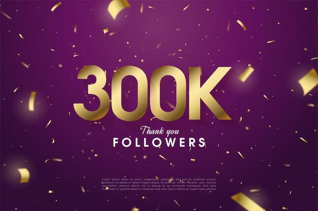 Vielen dank 300.000 follower mit illustrierten figuren und goldpapier.