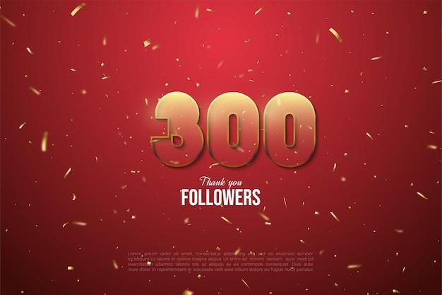 Vielen dank 300k follower mit einer braun kantigen transparenten figur illustration.