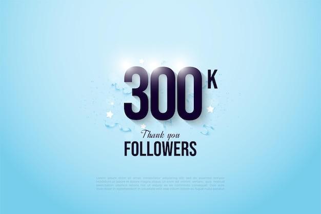 Vielen dank 300k follower mit illustrierten figuren und partyschmuck.