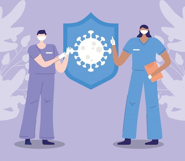 Vielen dank, ärzte, krankenschwestern, weibliche und männliche krankenschwestern schützen coronavirus covid 19