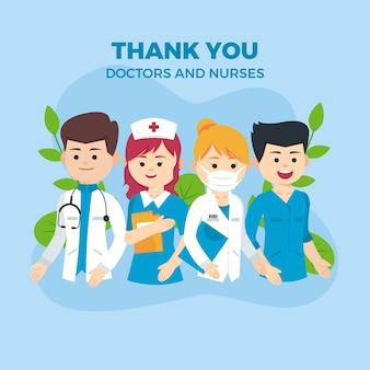 Vielen dank, ärzte und krankenschwestern unterstützende nachricht