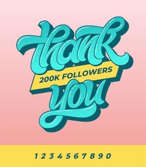 Vielen dank an 200k follower. banner für soziale medien mit pinselkalligraphie auf isoliertem hintergrund.