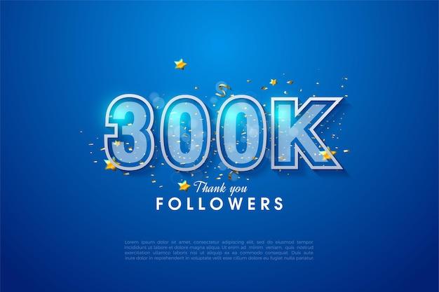 Vielen dank an 300.000 follower mit der illustration von blau-weiß umrandeten zahlen, die sich zusammendrücken.
