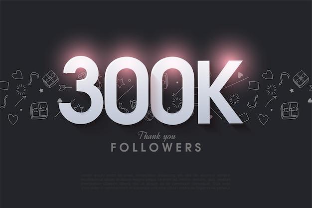Vielen dank an 300.000 follower mit einer hell leuchtenden zahlenillustration oben.