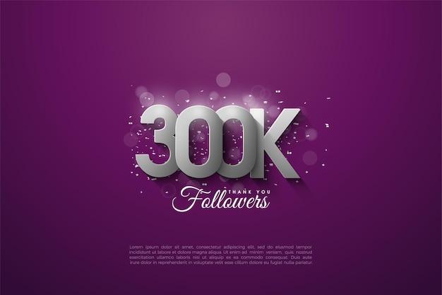 Vielen dank an 300.000 follower mit überlappenden 3d-silberfiguren.