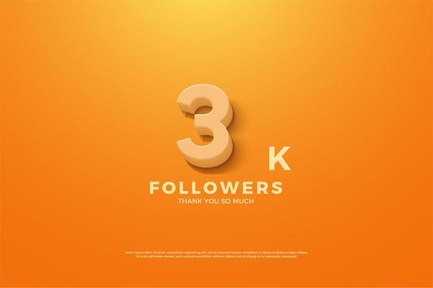 Vielen dank an 3k follower mit animierten zahlen auf orangefarbenem hintergrund