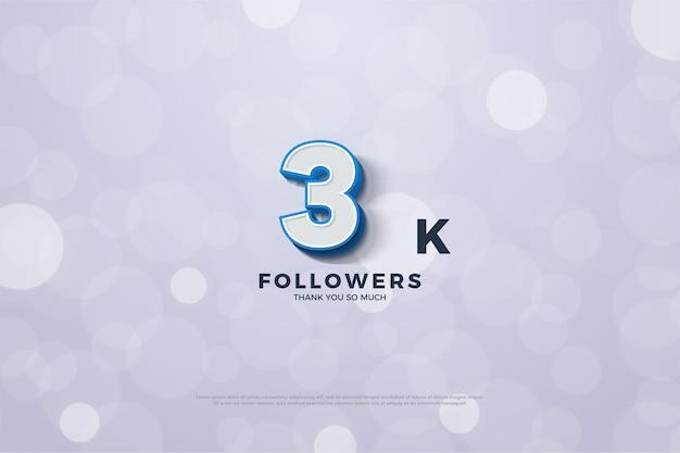 Vielen dank an 3k follower mit geprägten blauen randnummern