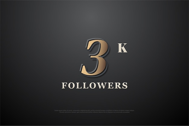 Vielen dank an 3k follower mit goldenen zahlen auf schwarzem hintergrund