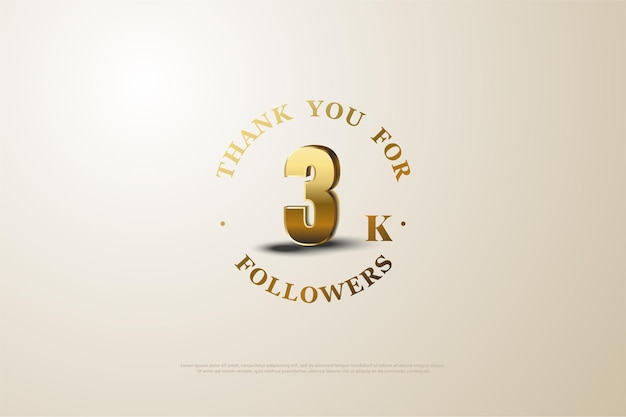 Vielen dank an 3k follower mit schattierten goldzahlen