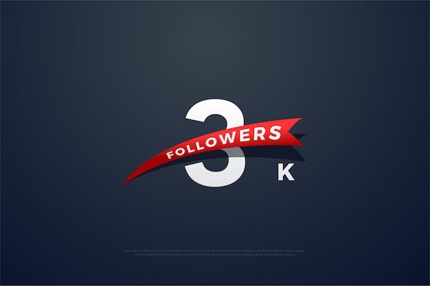 Vielen dank an 3k follower mit sich verjüngenden roten bildern