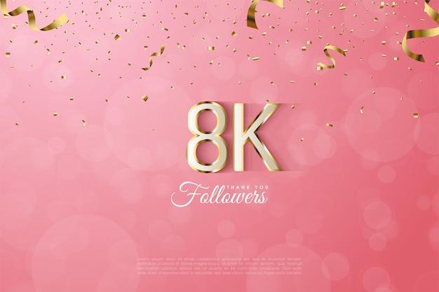 Vielen dank an 8k follower mit ausgefallenen zahlen mit goldrand