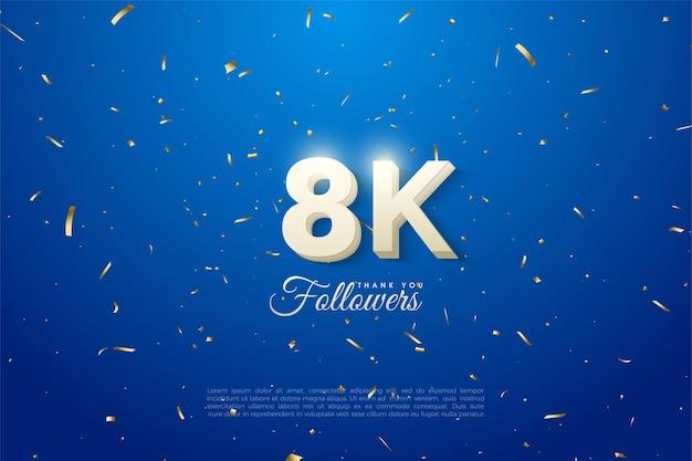 Vielen dank an 8k follower mit leuchtenden zahlen