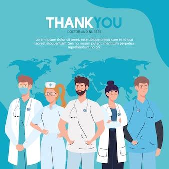 Vielen dank an ärzte und krankenschwestern, die in krankenhäusern arbeiten, medizinisches personal, das gegen das illustrationsdesign des coronavirus covid 19 kämpft