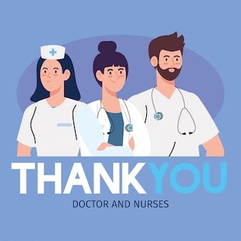 Vielen dank an ärzte und krankenschwestern, die in krankenhäusern arbeiten und gegen das coronavirus-covid-19-vektor-illustrationsdesign kämpfen