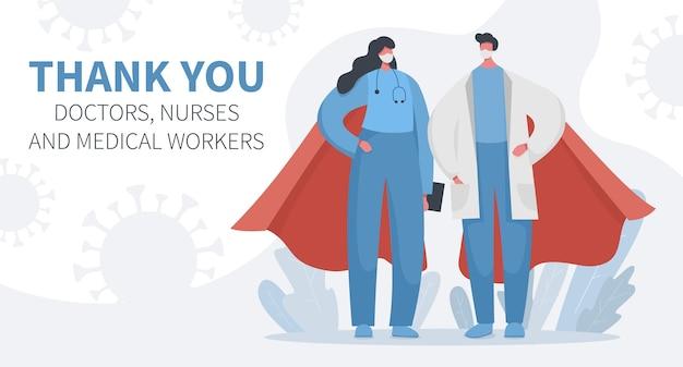 Vielen dank an die ärzte und krankenschwestern an superhelden in umhängen
