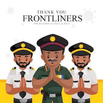 Vielen dank an die frontliner, dass sie uns sicher und gut banner-vorlage halten