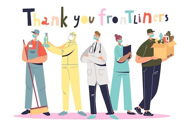 Vielen dank an die frontliner: menschen, die während einer covid-pandemie arbeiten