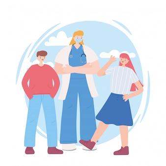Vielen dank an wichtige mitarbeiter, ärztin mit kindern, gesichtsmaske, illustration der coronavirus-krankheit