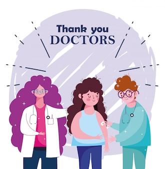 Vielen dank, dass sie ärzte, ärztin und krankenschwester mit mädchen