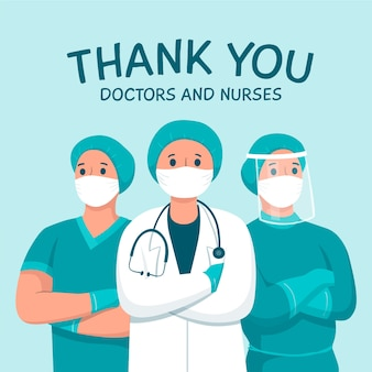 Vielen dank, dass sie ärzte und krankenschwestern unterstützende nachricht thema
