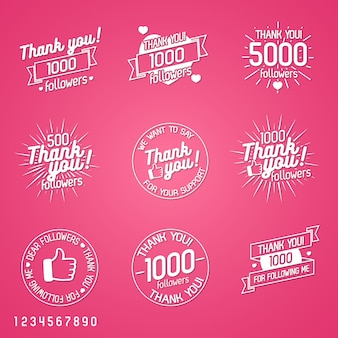 Vielen dank, dass sie anhänger label set auf rosa hintergrund isoliert. designelemente, schilder, logos, identität, etiketten, abzeichen, kleidung, bänder, aufkleber und andere objekte. illustration