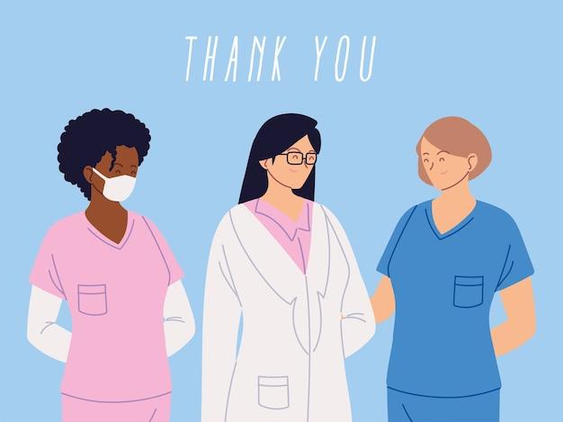 Vielen dank, dass sie arzt und krankenschwestern und medizinisches personal team, die das coronavirus-illustrationsdesign bekämpfen