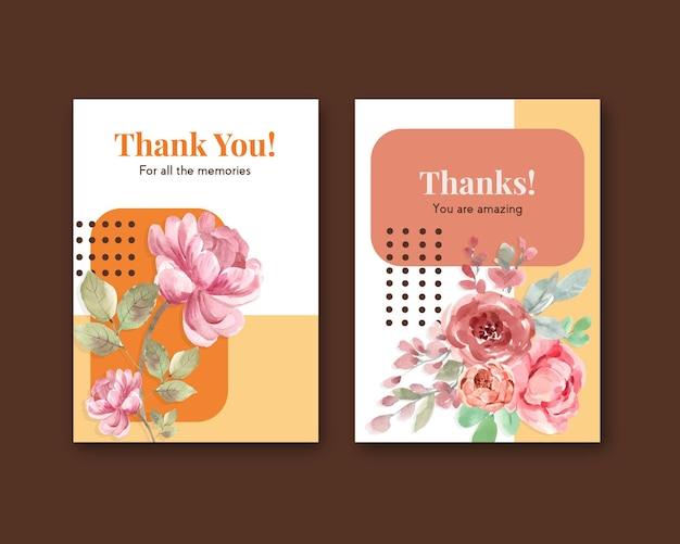 Vielen dank, dass sie kartenschablone mit liebe blühenden konzeptdesign aquarellillustration