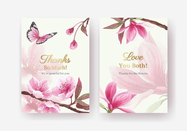 Vielen dank, dass sie kartenvorlage mit blüte vogel konzept design aquarell illustration