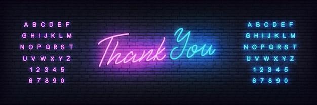 Vielen dank, dass sie neon-banner-vorlage