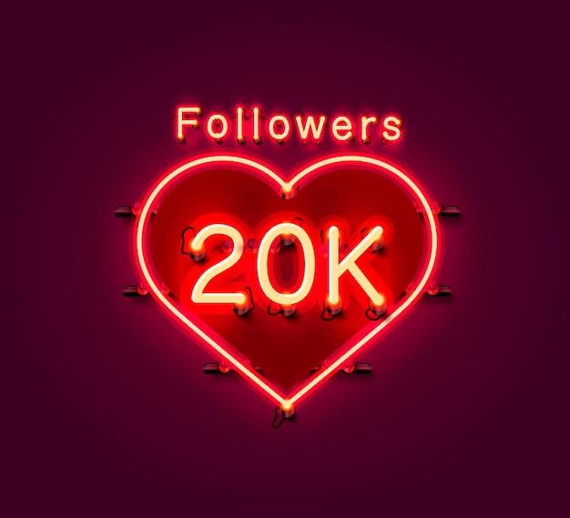 Vielen dank follower völker, 20.000 online-social-group, leuchtreklame