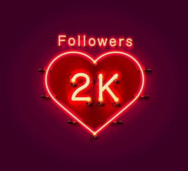 Vielen dank follower völker, 2k online social group, leuchtreklame