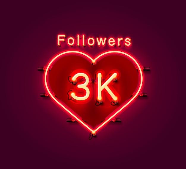 Vielen dank follower völker, 3k online social group, leuchtreklame