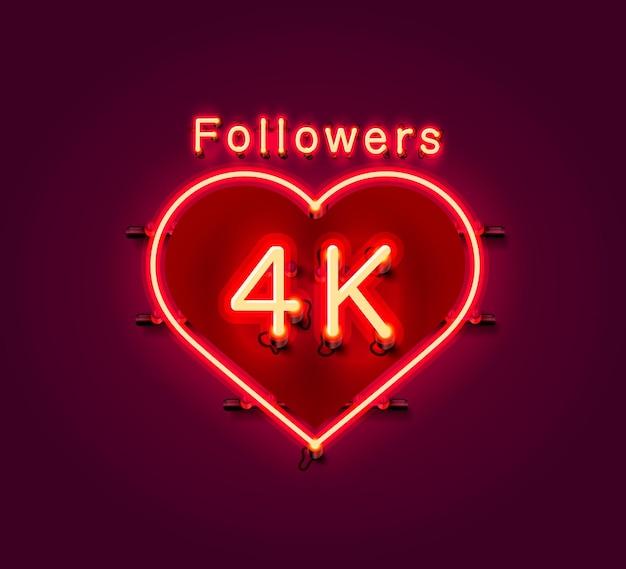 Vielen dank follower völker, 4k online social group, leuchtreklame