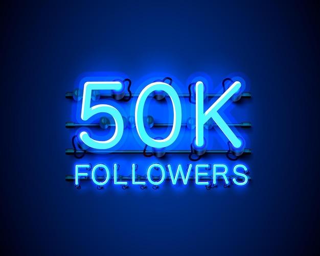Vielen dank follower völker, 50.000 online-social-group, leuchtreklame
