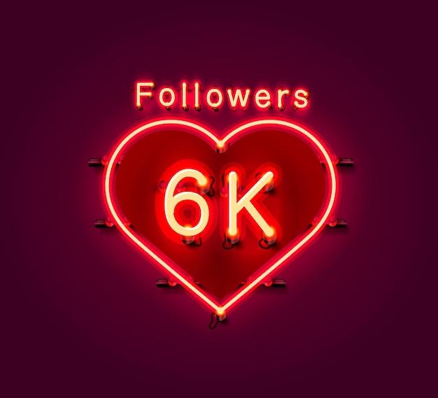 Vielen dank follower völker, 6k online social group, leuchtreklame
