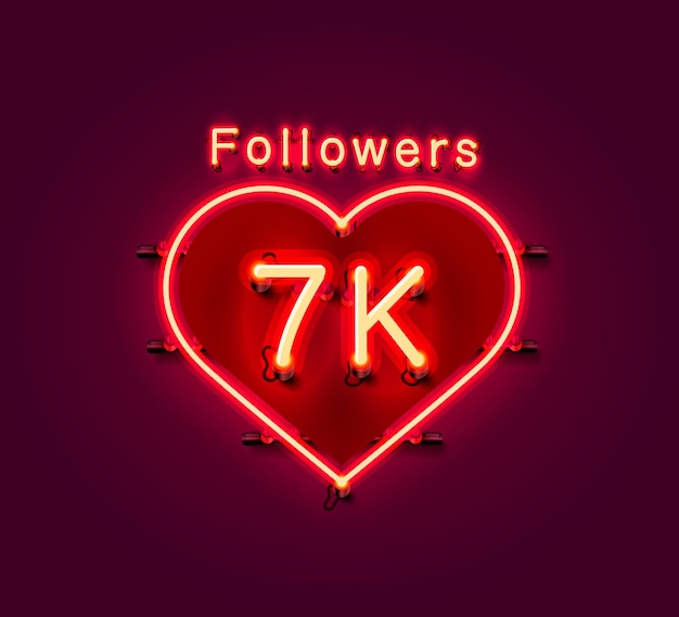 Vielen dank follower völker, 7k online social group, leuchtreklame