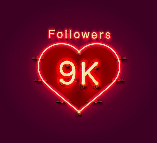 Vielen dank follower völker, 9k online social group, leuchtreklame