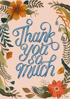 Vielen dank typografisch mit handgezeichneter dekoration