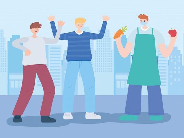 Vielen dank wichtige arbeiter, bauer mit jungen männern, coronavirus-krankheit illustration