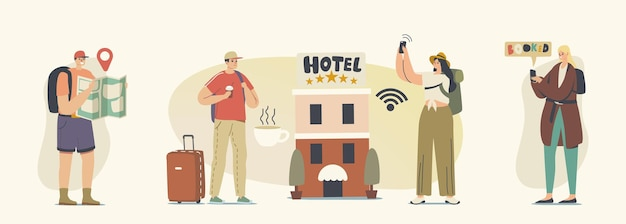 Vielfältige junge leute checken im fünf-sterne-hotel ein. männliche und weibliche touristen ziehen in ein motel zum übernachten, eine luxusunterkunft für reisende, ein gästehaus. cartoon-vektor-illustration