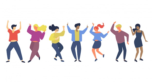 Vielfältige menschengruppen tanzen vor freude zusammen