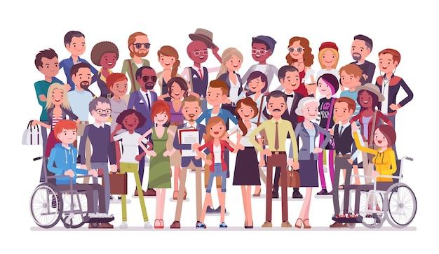 Vielfältiges personenporträt in voller länge