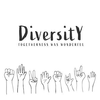 Vielfalt der handformen der völker handgezeichnetes doodle-design auf weißem hintergrund
