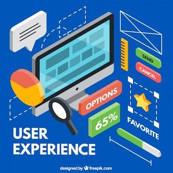 Vielfalt der isometrischen user experience elemente